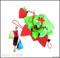 strawberry folding shopping bag - 10x Red Strawberry Reusable Shopping Bag Tote Bag Foldable Bag