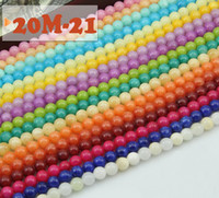 Wholesale 20mm natural round loose beads High quality cream colored jade loose beads