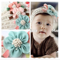 adorn blends - Baby headband elastic lace adorned with big chiffon flower months to years baby hair accessories