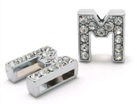 Collars silver Internal Dia. 8mm Wholesale - 50pcs 8mm *M*Slide Letters Wear Letters Fit Pet Collar DIY Charms 0014