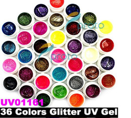 Wholesale Freeshipping Colors Glitter Powder UV Gel for UV Nail Art Tips Extension Decoration UV01161