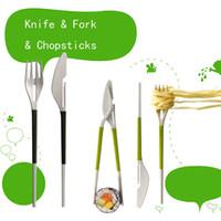 Wholesale L H S Multi function Knife Fork Chopsticks Set Tableware