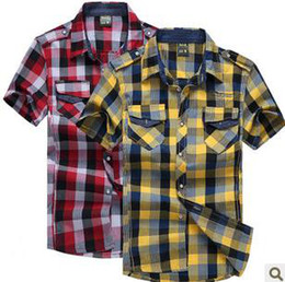 Wholesale 2012 Korean version of summer men s short sleeved shirt fashion casual plaid shirt