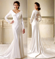 Garden bella model - Long Sleeve Wedding Dresses Bella Wedding Dress Hot Selling V Neck Empire Waist Backless Beach Long Party Dresses Vintage Wedding Gowns