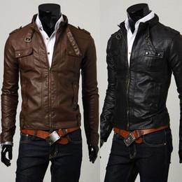 Wholesale Men s jackets biker jackets Men s Stunning Casual Rider leather jacket Black skinny PU leather jacke