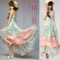Summer Thanksgiving Day Bohemian 10Pcs Lot Korea Women's Bohemian BOHO Floral Maxi Chiffon Long Dress Skirt #2008