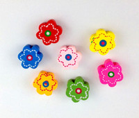Wholesale 60PCS Mixed colours wooden flower Beads