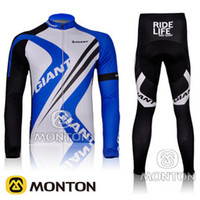 Wholesale 2012 new Giant blue long sleeved cycling speed drying of clothes suit bike service Jerseys Pants