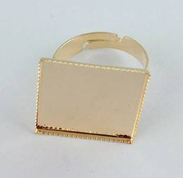 60PCS gold plated Ring Base Blank Glue-on 19mm SQUARE #20830