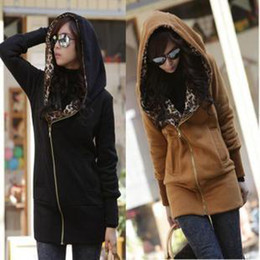 Wholesale Korean Women s leopard Hooded Cotton Wild Thick Warm outwear Gray camel black