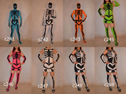 Wholesale Halloween Skeleton Skull Full Body Lycra Spandex Zentai Suit Costume BodySuit Fancy Dress