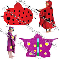 Wholesale Cartoon Swim Bathrobe Girls Robes Lady beetles butterfly cows shark bees Factory Saler TOP BABY