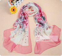 Wholesale Plum Blossom Printed Silk Scarf Wraps in red flower detail size cm hot sale