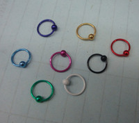 Wholesale 50pcs G Titanium Anodized BCR Ring Eyebrow Labret Lip Nose Ring Nipple Piercing Body Jewelry