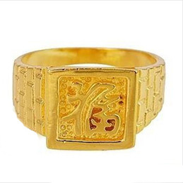 Hotsale 200pcs signet mens engagement gold rings free shipping 18k 24k different size available