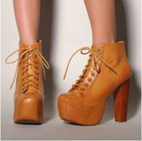 Wholesale 2012 trendy high heel platform wooden heel boots colors comfortable lace up boots