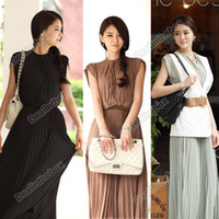High Collar Tea Length Ball Gown Women Princess Round Neck Boho Pleated Lace Chiffon Maxi long dress Hot Sell 3 Colors Agood #3841