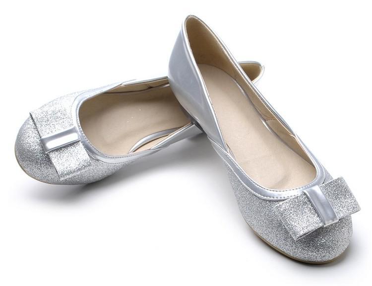 women s dazzling flat shoes, gold silver bow flats shining bling
