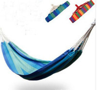 Wholesale Mixed batch single person leisure thicker longer outdoor colorful canvas hammock