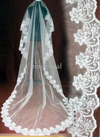 1T White WEDDING VEIL CATHEDRAL Train THICK LACE MANTILLA Br...