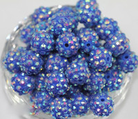resin - 12MM MM Loose Beads Acrylic Resin Beads Gold Rhinestone Resin Round Spacer Balls Beads