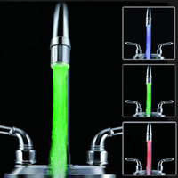 Wholesale Kithen LED Water FAUCET LIGHT Temperature Sensor Sink Tap Glow RGB Waterfull Shower Lamp no battery