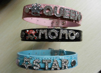 Wholesale Customized Personalized PU Leather Slide Pet Dog collars DIY your dog collar with slide letter amp char