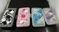 Wholesale 3D Crystal Rose Bling Leather Case hard case skin cover for iPod touch th touch4