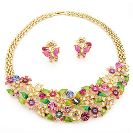 Wholesale multicolors bridal jewlery set butterfly cluster necklace earrings set Neoglory Rihood Jewelry NJ k real gold plated