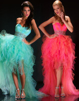 Wholesale Fresh Blue Ruffled high low Prom Dress sweetheart beaded Organza youthful Formal Dress Party Dresses