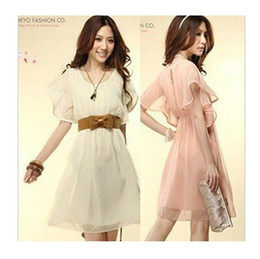 2016 new summer women girl short sleeve chiffon skirt lady one-piece dress color pink white purple