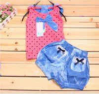 Cheap Baby Girl 2 Piece Set Dot Chest Shirt Top+Short Denim Trousers Summer Children Outfits Set 00384