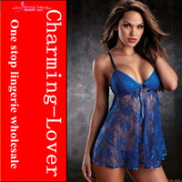Wholesale Plus size sexy lace babydoll lingerie women underwear sexy sleep wear with color sexy cloth