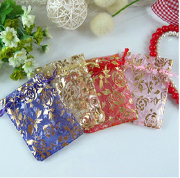 new arrival 100pcs lot Laxury Organza golden rose Gift Bag Jewelry Packing Wedding Favor Gift Bags