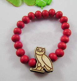 Owl Pendant Good Wood Beads Rosary Bracelet tank black brown red free shipping