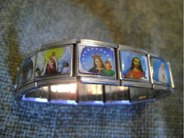 RELIGIOUS Jesus Beads Alloy BRACELET WITH SPANDEX BAND NEW IN GOOD CONDITION Jesus Bracelets Free Shipping