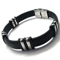 Wholesale mens bracelets stainless steel Bamboo style leather bracelets and bangles and bracelets BY79124