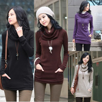 Cotton tunic - SEXY SHIRT STUNNING WOMENS SWEATER DRAPE NECK TUNIC LONG SLEEVE SCARF FLEECES COLOR