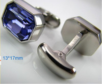 Wholesale 1pair Platinum Plated Big Facet Austria Crystal French Cufflinks Men Fashion Luxury Jewelry Box