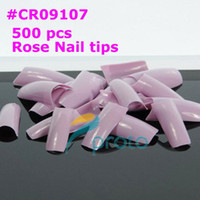 Wholesale AA181 Retails Rose Color Nails tips False French Nail Art Tips CR09107