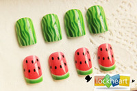 Wholesale Acrylic Nail Art False Fake Nail Tips With Nail Glue lovely watermelon design bride wedding gift