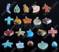 Mixed lot 100pcs Assorted Gemstone Pendants Fashion Gemstone...
