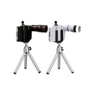 Wholesale 8X Zoom Telescope Camera Lens w Tripod Stand Hard Back Case eye scope for iPhone by HK post