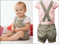 Wholesale Hot cotton baby kids clothing piece sets Floral T shirt Suspenders trousers belt