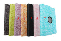 Wholesale 360 Degree Rotating Embossed Flower leather Case for New ipad ipad3 ipad ipad2 Tablet PC Stand