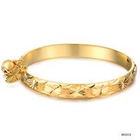 bangles for children - 18K gold plated bangles for children heart charms children yellow gold bangles KH313