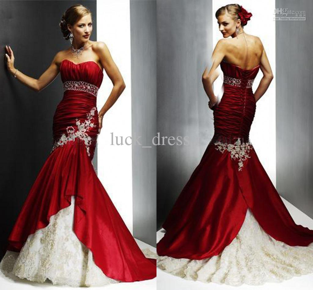 Charming Red And White Mermaid Strapless Court Beaded Ruched ...