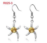 Wholesale Star Fish Earrings Austrian Crystal Jewelry Hotsale Earring pairs LM E176