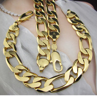 Wholesale Heavy Men k Yellow gold filled necklace Bracelet Set GF Figaro chain g free new arrival