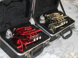 NEW silver and red available Very excellent pocket trumpet with case silver